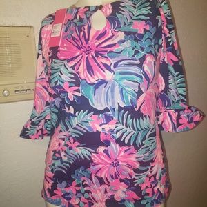New Lilly Pulitzer Waverly Ruffle Top S